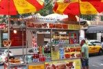 Postcard Memento: Street Vendor Hot Dog in New York, New York